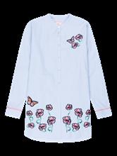 Bild von Bluse mit Streifen und Blumenstickerei