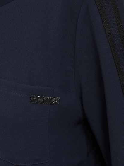 Image sur Blouse mélange de matières rayures aux manches et cordon de serrage