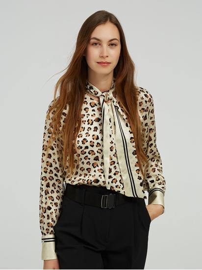 Image sur Blouse avec noeud et imprimé léopard