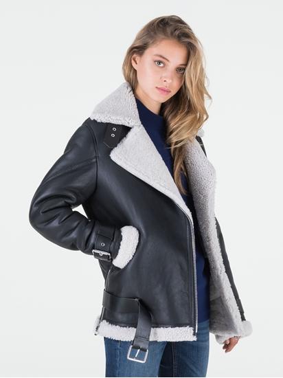 Image sur Veste cuir oversized et fourrure mouton