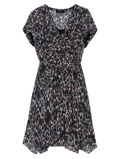 Image sur Robe imprimé léopard avec ceinture