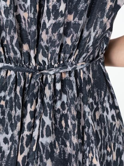 Bild von Kleid mit Leo-Print und Schnürung