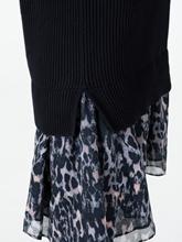 Image sur Robe maille avec empiècement impression léopard