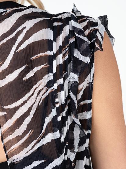 Image sur Kleid mit Zebra-Print und Rüschen
