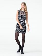 Bild von Kleid mit Zebra-Print und Rüschen