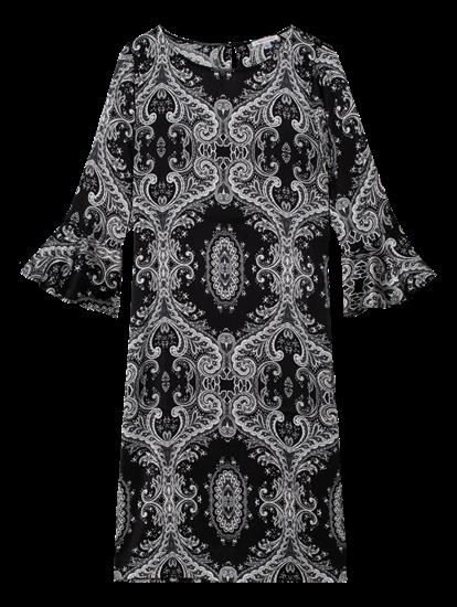Bild von Kleid mit Print und Volant am Ärmel