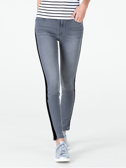 Image sur Jean skinny rayures latérales velours
