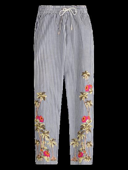 Image sur Pantalon à rayures et broderies