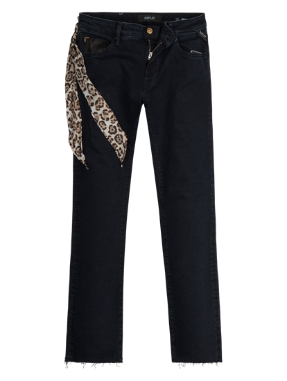 Image sur Denim coloré à ourlet ouvert et foulard DOMINIQLI