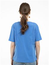 Bild von T-Shirt aus Material-Mix mit Lochstickerei