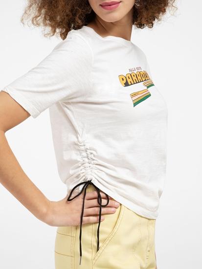 Bild von T-Shirt mit Print und Raffung