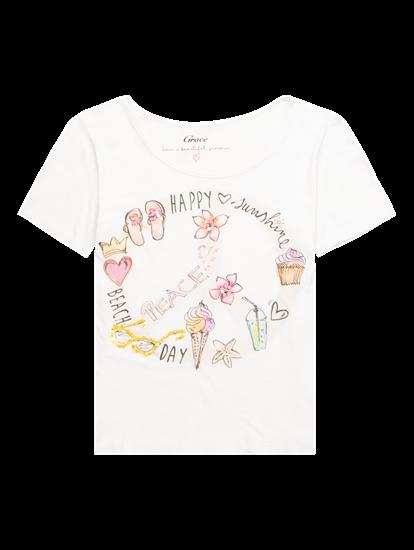 Image sur T- shirt fil flammé avec imprimé et paillettes