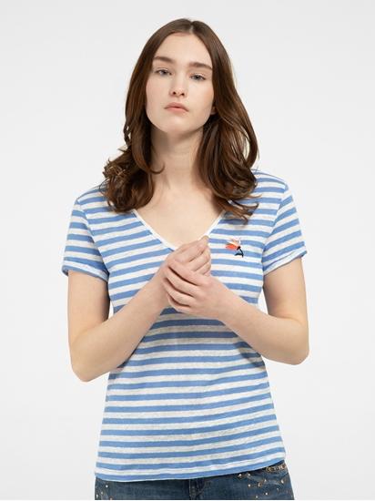 Image sur T-shirt lin à rayures et broderies