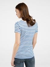 Bild von T-Shirt aus Leinen mit Streifen und Stickerei
