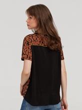 Image sur T-shirt mélange de matières et imprimé léopard