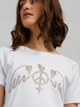Image sur T-shirt avec strass