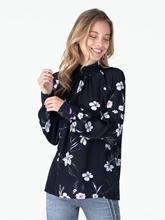 Bild von Bluse mit Blumen-Print und schräger Knopfleiste
