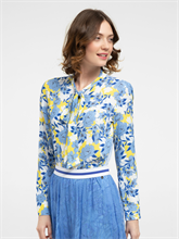 Bild von Bluse aus Material-Mix mit Blumen-Print und Streifen
