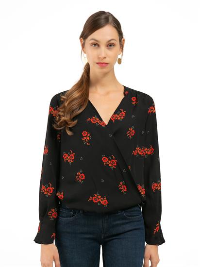 Image sur Blouse style cache-coeur et imprimé floral