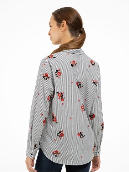 Bild von Bluse mit Streifen und Blumen-Print