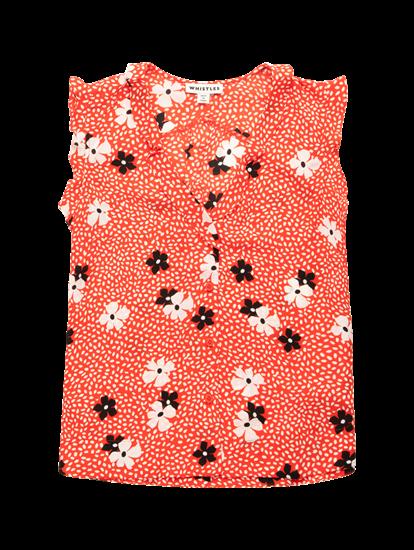 Bild von Blusentop mit Blumen-Print und Volants