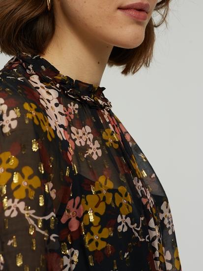 Bild von Blusentop mit Blumen-Print und Lurex