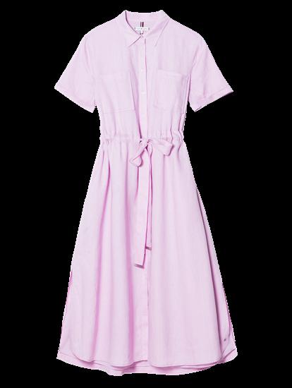 Bild von Kleid aus Leinen mit Tunnelzug und Brusttaschen