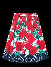 Image sur Jupe mit Falten und Blumen-Print