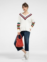 Image sur Oversized Pullover mit Zopfmuster und Streifen