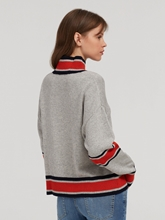 Image sur Pullover maille à rayures contrastes