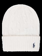 Bild von Mütze mit Zopfmuster und Logo