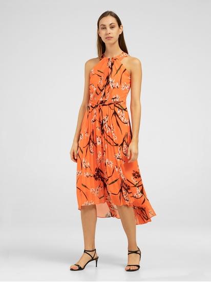 Image sur Kleid mit Blumen-Print und Plissee-Falten