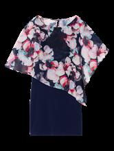 Bild von Kleid aus Material-Mix mit Blumen-Print