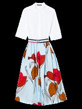 Bild von Kleid mit Gürtel und Blumen-Print