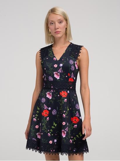 Bild von Kleid mit Blumen-Print und Spitze