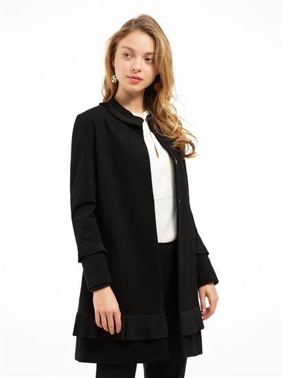 Image sur Manteau en jersey avec volants plissés