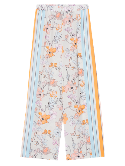 Image sur Pantalon soie imprimé fleuri et rayures