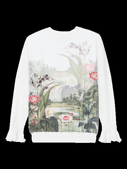 Bild von Pullover aus Material-Mix mit Blumen-Print