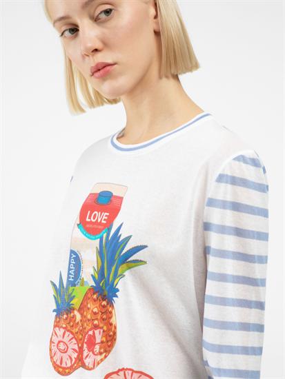 Bild von Pullover mit Print und Streifen