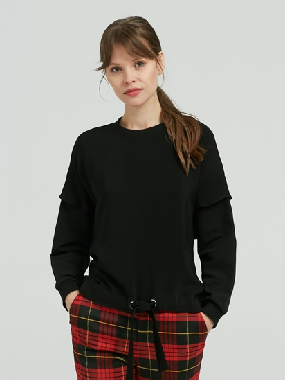 Bild von Sweatshirt aus Material-Mix mit Volant