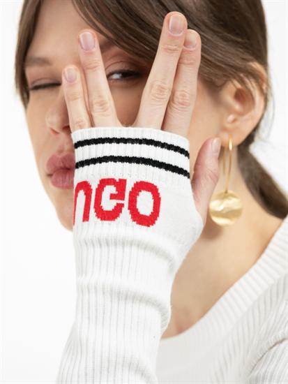 Image sur Pullover maille texturé et manches avec logo