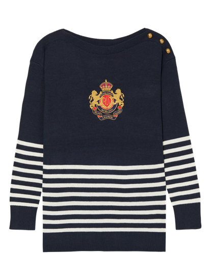 Image sur Pullover maille avec broderies et rayures