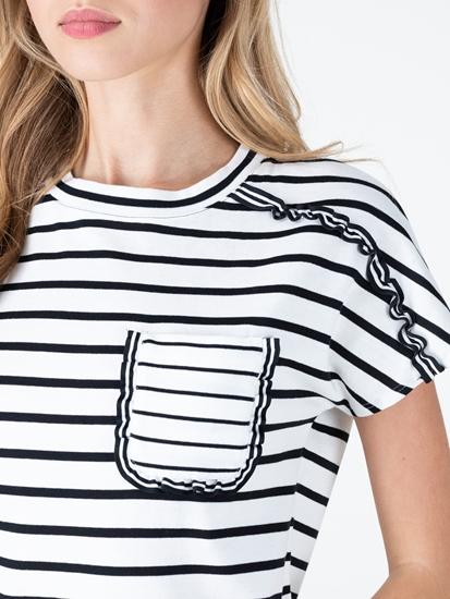 Bild von T-Shirt mit Streifen und Rüschen