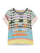 Bild von Blusenshirt aus Material-Mix mit Print und Streifen