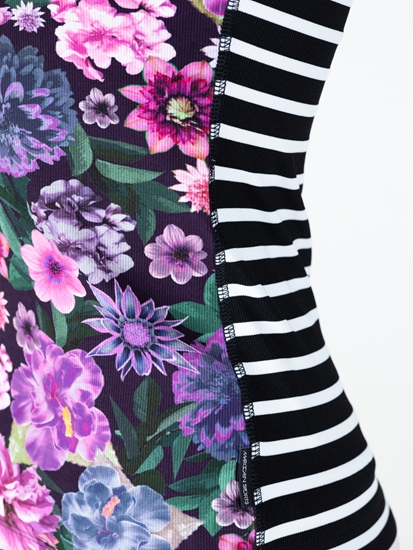 Image sur Top mit Blumen-Print und Streifen