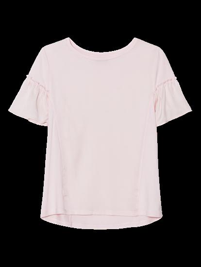 Image sur T-shirt mélange de matières et volant aux manches
