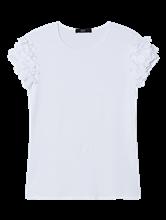 Bild von T-Shirt mit Blumen-Applikationen am Ärmel