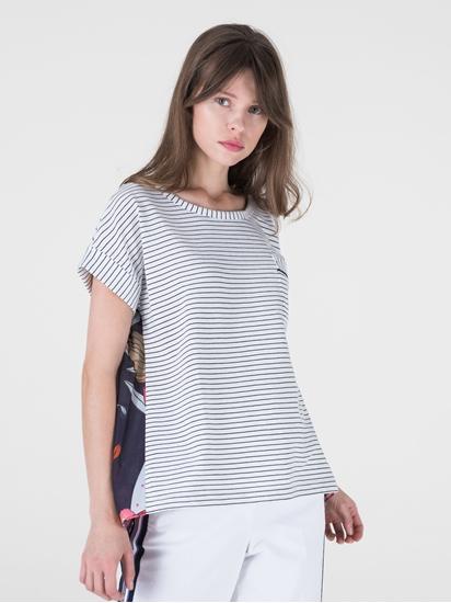 Bild von T-Shirt aus Material-Mix mit Streifen und Print
