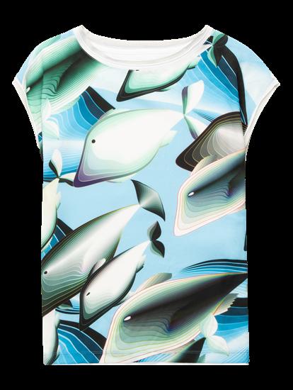 Image sur Blouse mélange de matières et imprimé