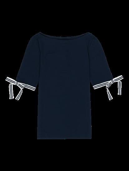 Bild von Shirt mit Streifen und Schleife am Ärmel